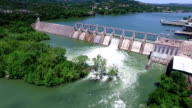 Open the Flood Gates Colorado River Dam Aerial View Austin Texas backing away from Hydro Electric Dam video