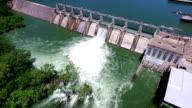 Open the Flood Gates Colorado River Dam Aerial View Austin Texas video