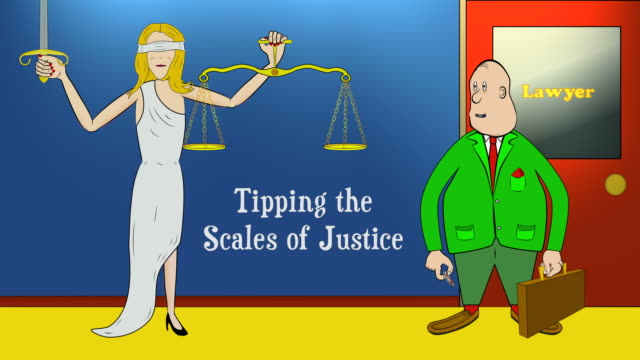 Lawyer Tips Scales of Justice with Coin - Ver 2: Open Title video