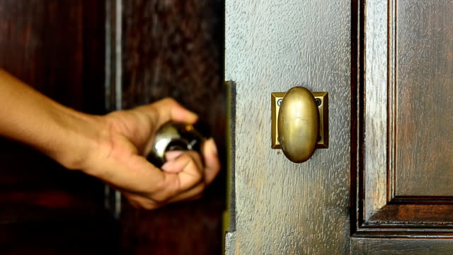 open wooden modern door with one hand video