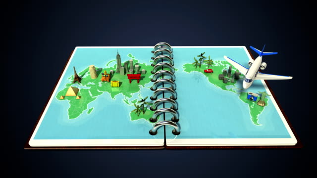 Opened passport, travel world tour concept. video