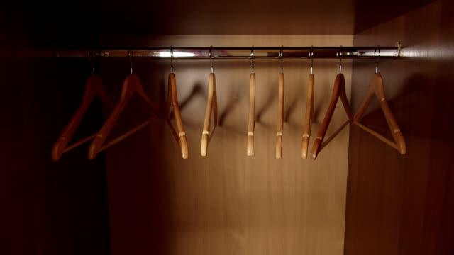 Opening door of the empty wardrobe video