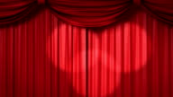 opening red theatrical curtain with spotlights video