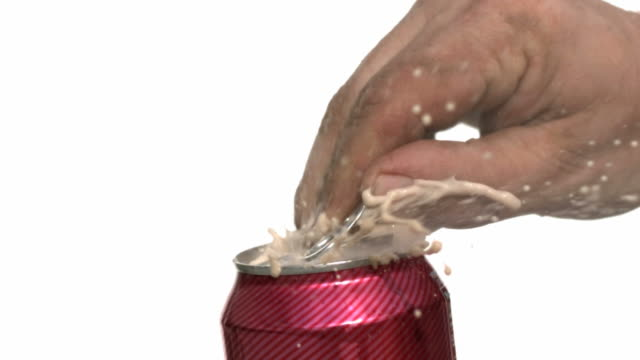 Opening soda can, slow motion video
