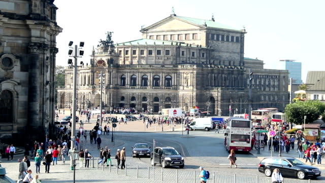 Opera House Dresden, tourism attraction, German city life, day. Beautiful shot of Europe, culture and landscapes. Traveling sightseeing, tourist views landmarks of Germany. World travel, west European trip cityscape, outdoor shot video
