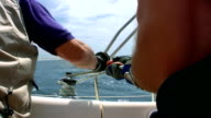 HD: Operating Sail Winch On A Yacht video
