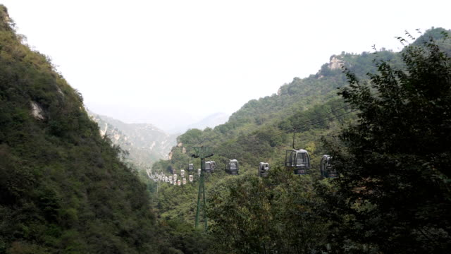 Operation of the cable car in the mountains video