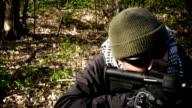 Operator/Terrorist aiming an assault rifle video
