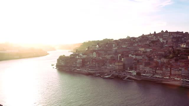 Oporto Ribeira aerial view video