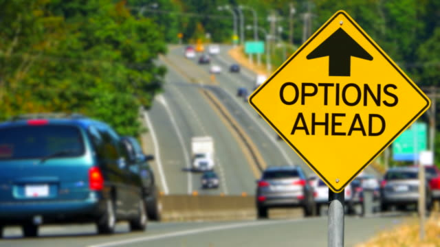 Options Ahead Message, Yellow Diamond Sign, Seamless Looping video