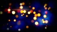 orange blue shining circle bokeh lights loop background video