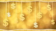 orange dollar signs dangling on strings loop background video