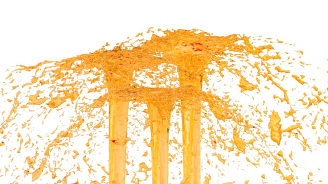 orange flow of fountain fly up in air with many splashes. Shot of orange liquid as sugar syrup or sweet lemonade in slow motion with alpha channel as luma matte. ver28 video