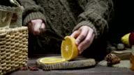 Orange for mulled wine preparing video