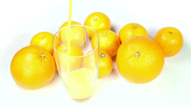 Orange juice pouring into glass video