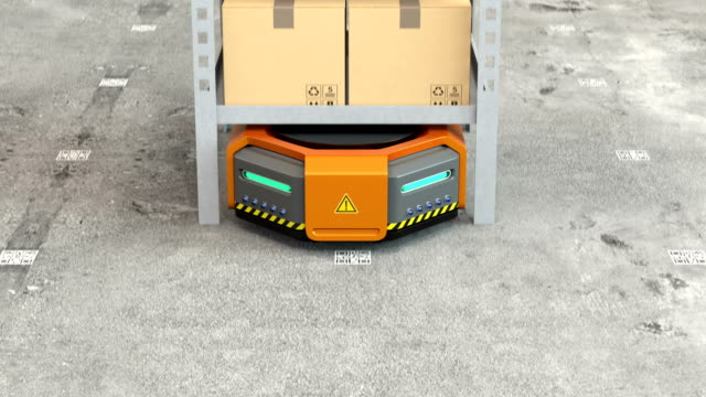 Orange robots carrying pallets with goods in modern warehouse video