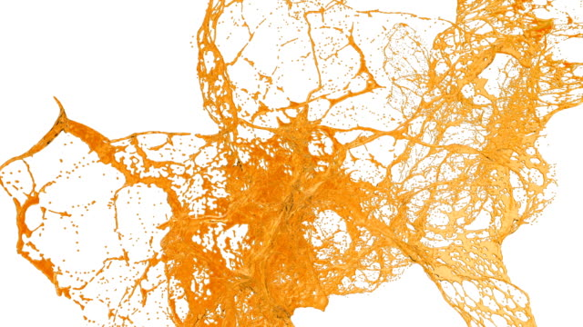 orange splash of sweet water in air filmed in slow motion with alpha channel use for alpha mask lumma matte. Sugar liquid fly in air. ver3 video