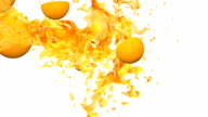 Oranges  and Juice. 3D animation. video