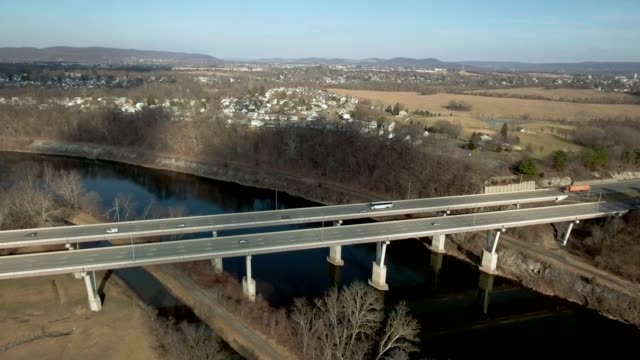 Orbit around highway bridge video