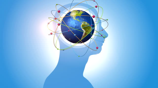 Orbiting Blue Globe Inside Of Human Head video