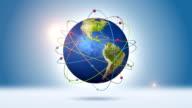 Orbiting Blue Globe With Global Network video