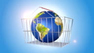 Orbiting Globe In A Shopping Basket video