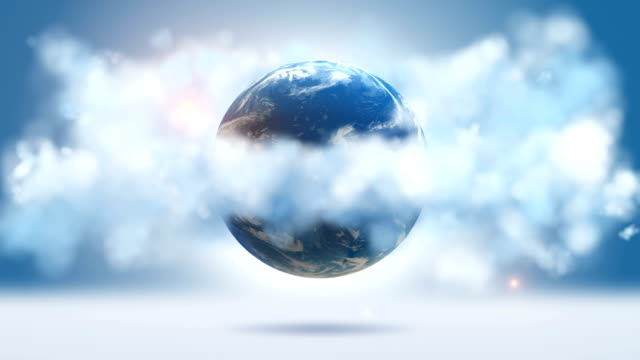 Orbiting Globe In The White Clouds video