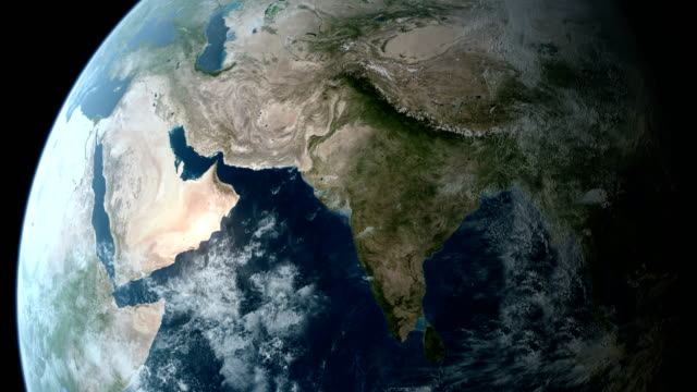 Orbiting over Asia 4K video