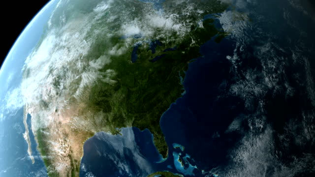 Orbiting over North America 4K video