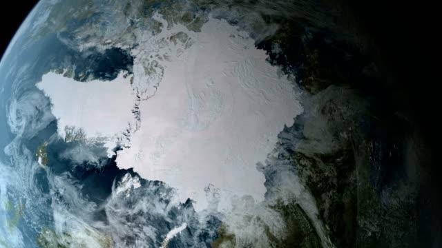 Orbiting over North Pole 4K video