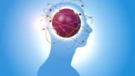 Orbiting Red Globe Inside Of Human Head video