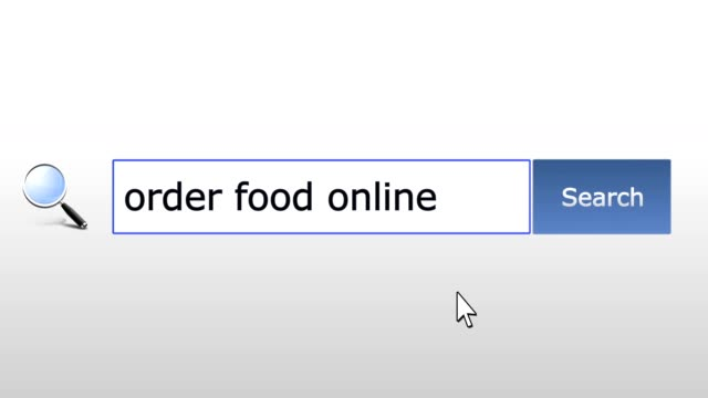 Order food online - graphics browser search query, web page, user input searching for relevant results, computer internet technology. Web browsing typing letters, filling form pressing Find button, navigation to search results page, working online video