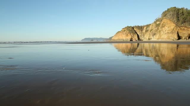 Oregon Coast, Low Tide Beach Reflection video