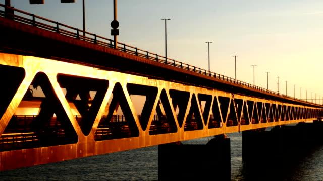 Oresund Bridge, Sweden at dusk video