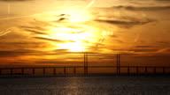 Oresundsbron Bridge Sunset Time Lapse video