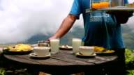 Organic delicious breakfast at himalayas mountain, nepal video