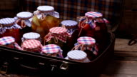 Organic food in old suitcase. video