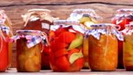 Organic vegetables in glass jars. video
