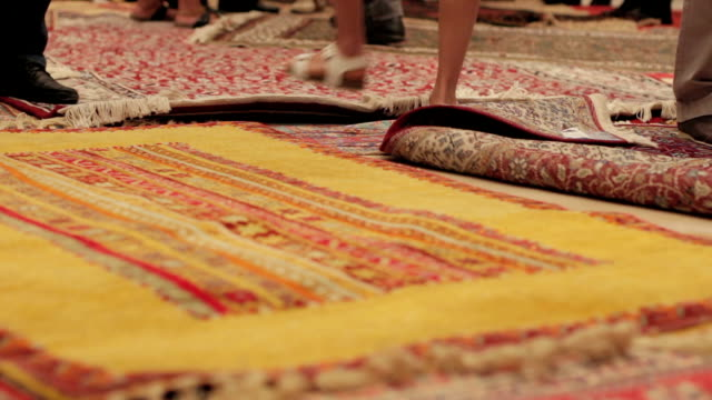 Oriental carpets at a roadside carpetshop in Turkey video