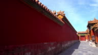 oriental red gate inside Beijing Forbidden City, China video