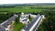 Orthodox Christian monastery.Aerial view video