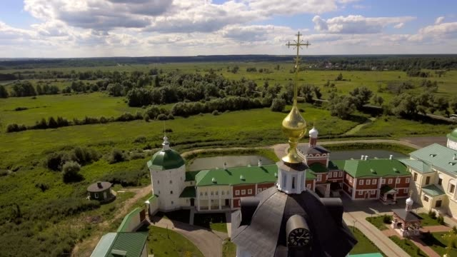 Orthodox Christian monastery.Aerial view video