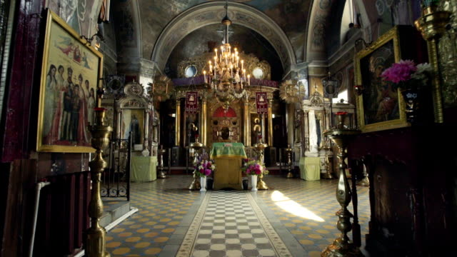 Orthodox Church. a view inside. altar and icons video