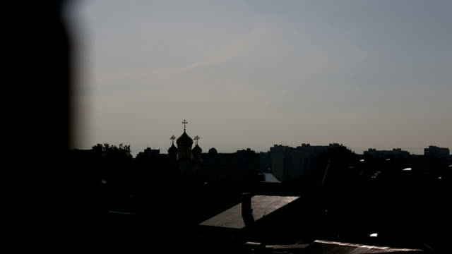 Orthodox church in the evening view from the window video