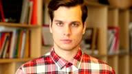 ortrait of Successful Young Handsome Man Indoor video