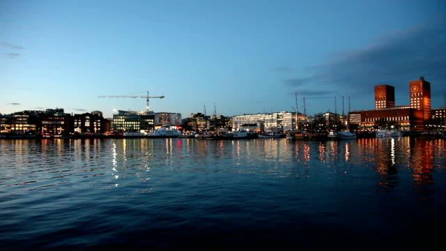 Oslo harbor in the evening in winter. video