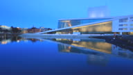 Oslo Opera House and cityscape with its Reflection at dusk video