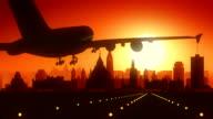 Ottawa Canada Airplane Landing Skyline Golden Background video