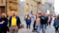 Out of focus: Crowded of tourists at The street leading , Florence, Italy video