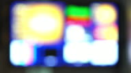 Out of focus lights Bad TV signal on the TV screen. video